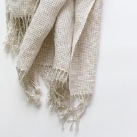 手織りシルクリネンのショール(Small check pattern)収納バッグ付