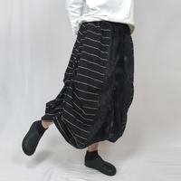 手織り綿、絣織り変わりロングスカートB、ブラック、オールシーズン