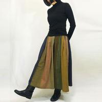 再販★手織り綿絣ロングスカート、マルチストライプ、オールシーズン