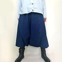 藍染め手織り綿、おとなのロングサルエルパンツ、インディゴ、フリーサイズ