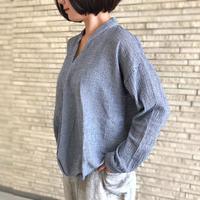 再販5!2サイズ、体型カバー裾ねじりコットンクレープ長袖ブラウス、ブルーストライプ