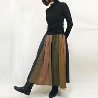 手織り綿絣ロングスカート、マルチストライプ、オールシーズン