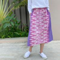 77㎝丈、小柄さん向け草木染ミックス、手織絣綿のロングスカート