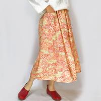 きものリメイクロングスカート、ミモザオレンジのさくら柄、オールシーズン