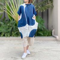 紺藍と薄藍、草木染の刺子入りゆったりサイズ、コットンロングチュニック
