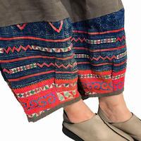 LL~3Lサイズ、ジョムトン手織り綿のもんぺ、モン刺繍付きパンツ茶、オールシーズン