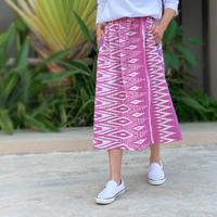 75㎝丈、小柄さん向け草木染ミックス、手織絣綿のロングスカート