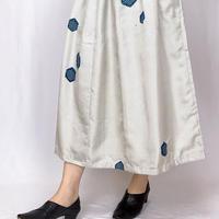 きものリメイク、白十字絣絞り染めロングスカート、正絹、フリーサイズ
