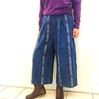 美しい手織り綿、コットンロングパンツ、ブルー、フリーサイズ
