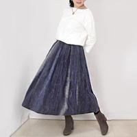 手織り綿絣ロングスカート、紺xグレー、春夏向け