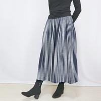 再4☆手織り綿絣ロングスカート、インディゴXグレー柄、オールシーズン