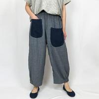 Wガーゼの可愛いリラックスポケットパンツ、ダンガリーブルー