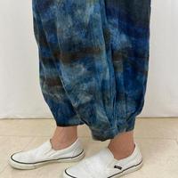 86㎝丈、藍とマクア(黒檀)、草木染のゆったり涼しいロングパンツ