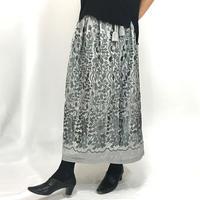 シルクの総刺繍ラップスカート、グレー、フリーサイズ