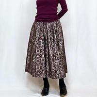 きものリメイク、大島着物ロングスカート、ブラウン、フリーサイズ