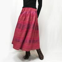 手織り綿絣ロングスカート、茜(あかね)色、オールシーズン