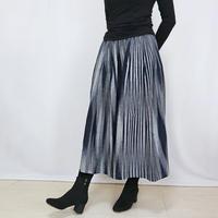 再2☆手織り綿絣ロングスカート、インディゴXグレー柄、オールシーズン