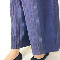柔らか手織綿のロングワイドパンツ、絣模様、朝焼けブルー