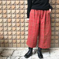 手紡ぎ、天然染料、カパス綿織りロンボク古布のワイドパンツ