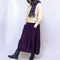 至福の肌さわり、しっとり最上質ヘンプのバルーンスカート、濃い菫色、オールシーズン