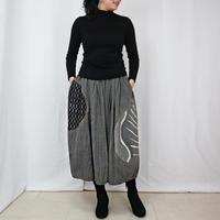 草木染め、手描染め刺繡入りコットンバルーンスカート、フリーサイズ