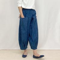 86㎝丈、インディゴブルーが美しいジョムトン手織り十字綿絣ロングパンツ