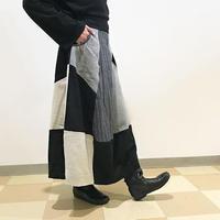 再販5回目!85cm丈、コットンパッチワークロングスカート、ブラック