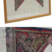 民族古布の額装長方形中サイズ、FRAMED TRIBAL OLD EMBROIDERY
