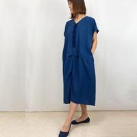 藍染手織綿、ゆったりサイズの着物古布付きロングワンピース