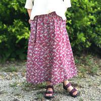 着物リメイク、レンゲ柄が可愛いのロングスカート、大きいサイズ