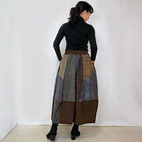 再販☆手織り綿絣、後ろ姿も可愛いパッチワークロングスカート、ブラウン、オールシーズン
