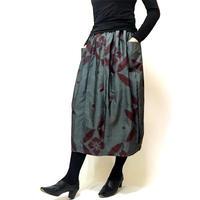 きものリメイクのロングスカート、バルーンスカート、銘仙、グレー