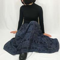手織り綿絣ロングスカート、濃紺、オールシーズン