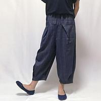 84㎝丈、小柄さんもでかっこ良いジョムトン手織り綿の変わりストライプロングパンツ