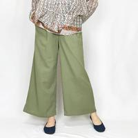 しなやかコットン鶯色の涼しいワイドパンツ、フリーサイズ