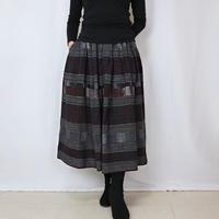 手織り綿絣ロングスカート、焦げ茶Xグレー、オールシーズン