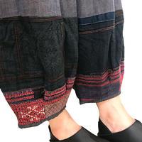L~LLサイズ、手織りヘンプコットンのもんぺ、モン刺繍付きパンツ、ブルーグレー、オールシーズン
