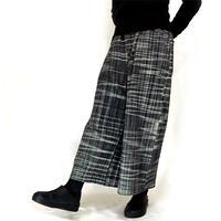 らか手織綿のロングワイドパンツ、チェック柄ブラック&ホワイト
