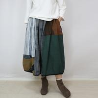 草木染め、手織り綿のパッチワークバルーンスカート、フリーサイズ