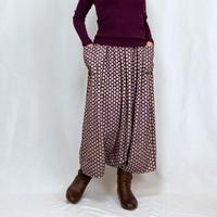 きものリメイク、ロング丈、おとな可愛い紫色の正絹サルエルパンツ