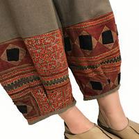 Lサイズ、ジョムトン手織り綿のもんぺ、モン刺繍付きパンツ茶、オールシーズン
