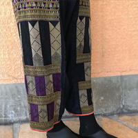 M~LLサイズ、手織り藍染ヘンプのワイドパンツ、ヤオ刺繍付き、オールシーズン