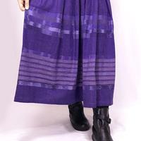 手織り綿絣ロングスカート、菫色、オールシーズン