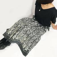 シルクの総刺繍ラップスカート、チヤコール、フリーサイズ