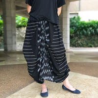 再販3!手織り綿、絣織り変わりロングスカート、ブラック、オールシーズン