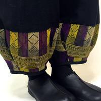 L~LLサイズ、ジョムトン手織り綿のもんぺパンツ、ヤオ刺繍付き、オールシーズン
