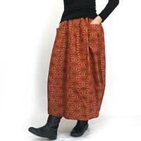 きものリメイクのロングスカート、バルーンスカート、テラコッタオレンジ