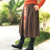 80cm丈、ラオス古布付きのロングスカート、フリーサイズ