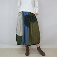 草木染め、手織り綿のパッチワークバルーンスカート、フリーサイズ  のコピー