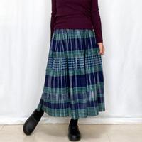 手織り綿絣ロングスカート、ネイビーチェック柄、オールシーズン